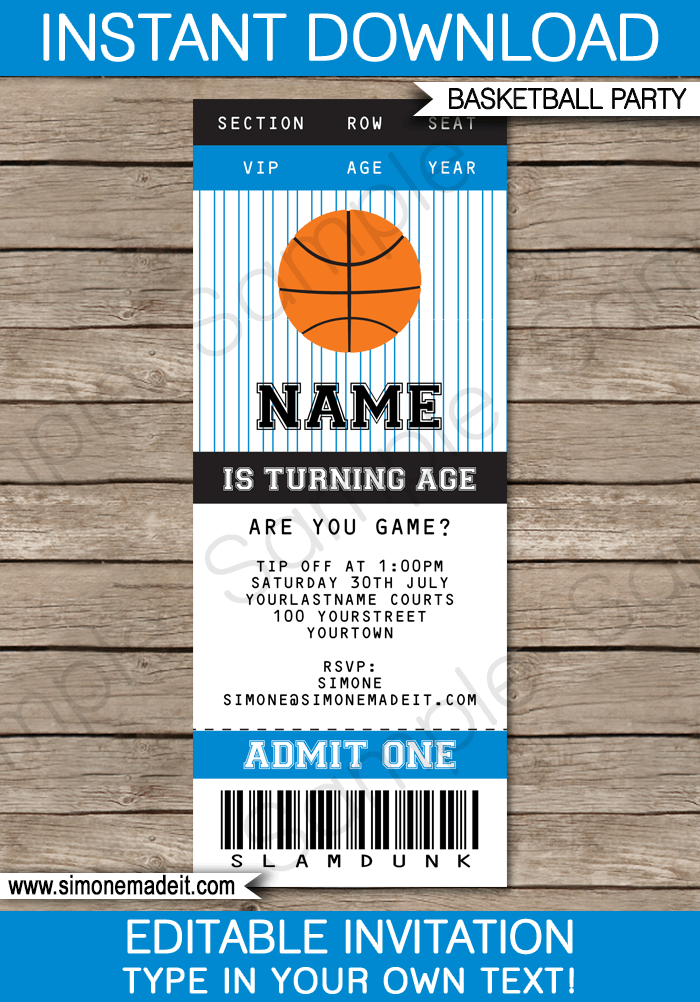 Black and Blue Basketball Party Ticket Invitation Template | Birthday Party Invitations | Team Parties | March Madness | Editable DIY Theme Template | INSTANT DOWNLOAD $7.50 via SIMONEmadeit.com