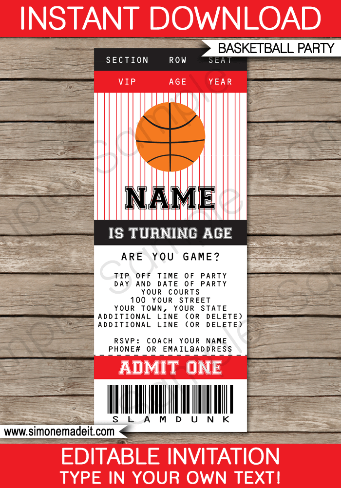 Black And Red Basketball Party Ticket Invitation Template | Birthday Party  Invitations | Team Parties |  Party Ticket Template