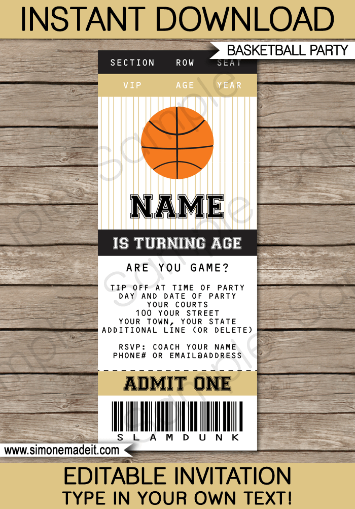 Black and Gold Basketball Party Ticket Invitation Template | Birthday Party Invitations | Team Parties | March Madness | Editable DIY Theme Template | INSTANT DOWNLOAD $7.50 via SIMONEmadeit.com