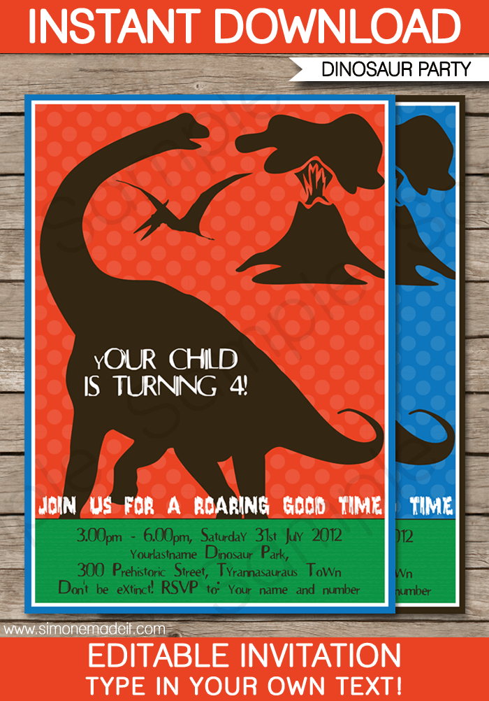 Dinosaur birthday party invitations template stopboris