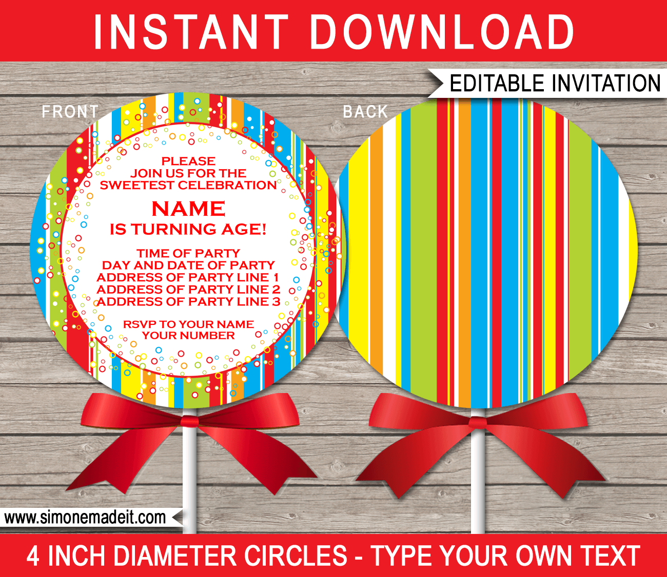 Lollipop Invitations Template | Birthday Party