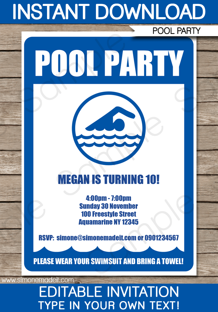 pool party invitations birthday party template. Black Bedroom Furniture Sets. Home Design Ideas