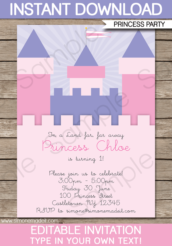 Princess birthday party invitations template princess birthday party invitations princess castle editable diy theme template instant download 750 stopboris Image collections
