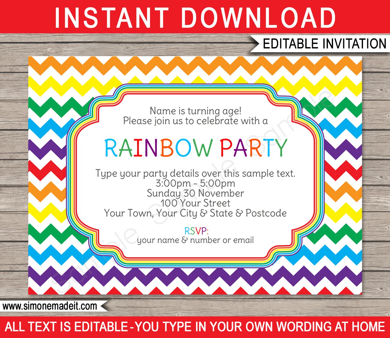 Rainbow Party Invitations | Colorful Chevron | Birthday Party | Editable  DIY Theme Template | INSTANT  Invitation Birthday Template