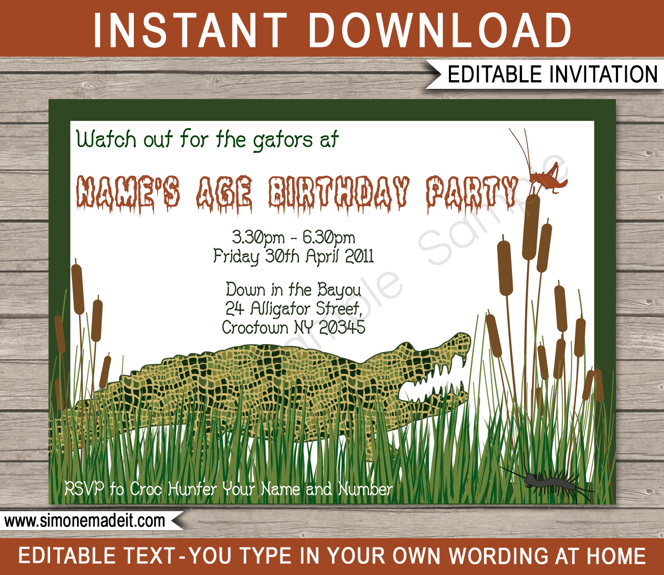 Swamp Party Invitations | Birthday Party | Editable DIY Theme Template | INSTANT DOWNLOAD $7.50 via SIMONEmadeit.com
