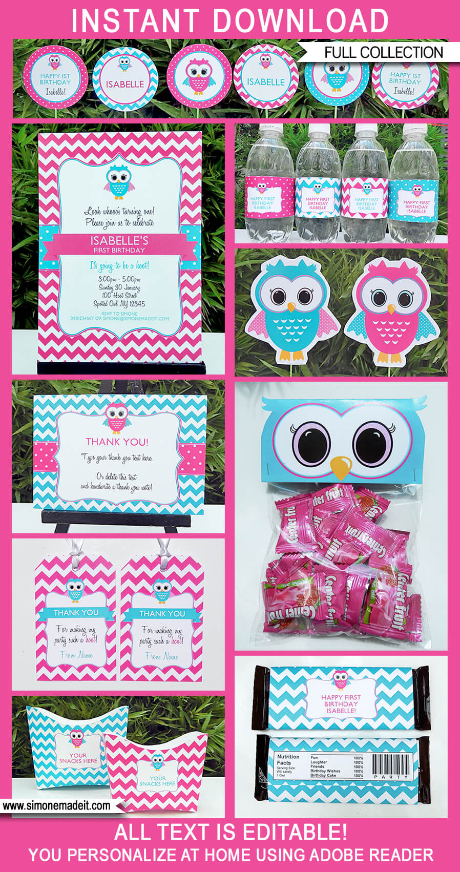 Pink Owl Party Printables Invitations Decorations