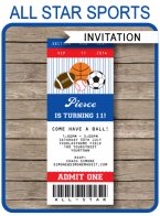 Printable All Star Sports Invitations Template