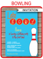 Printable Bowling Party Invitations Template