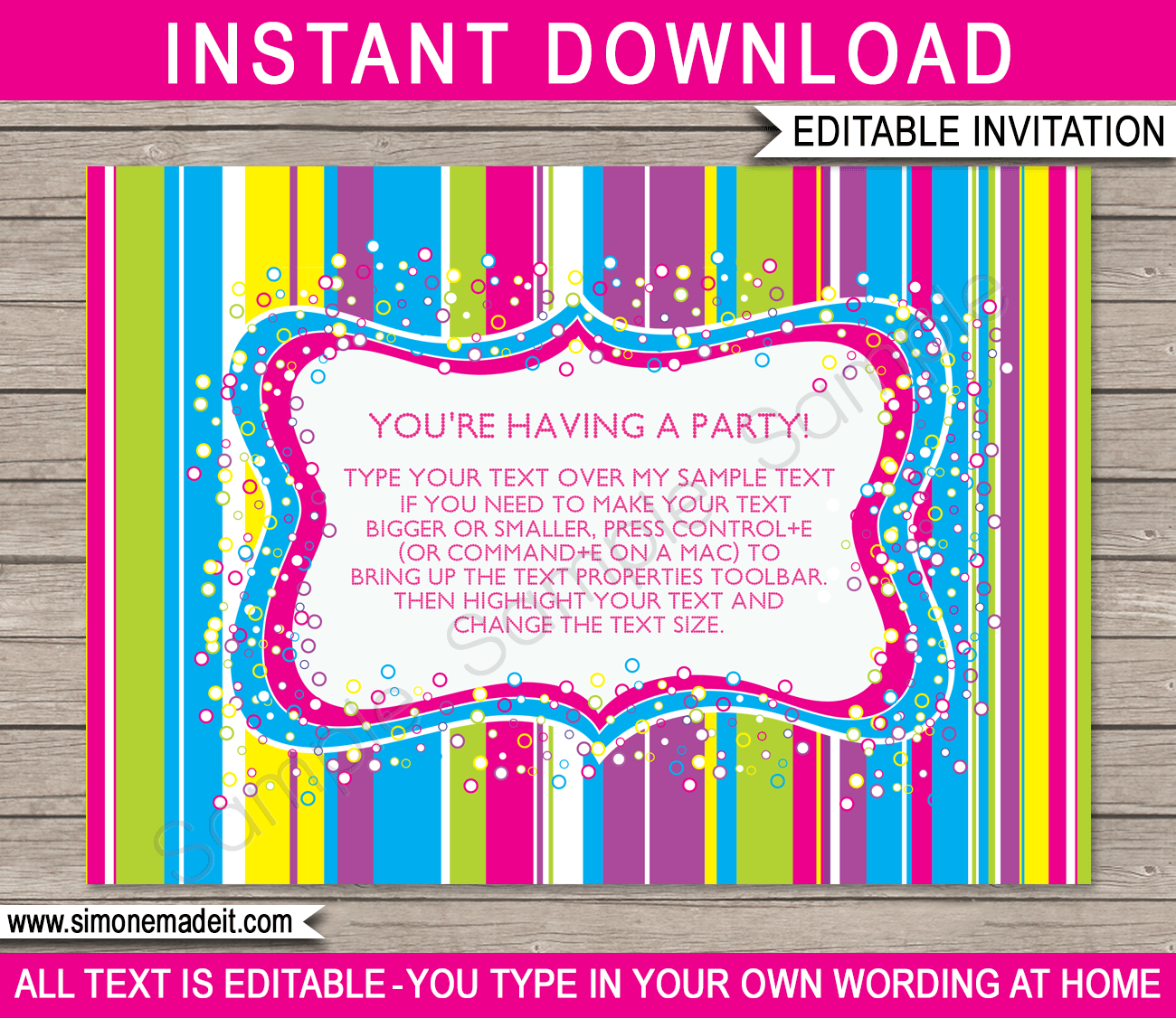 Candyland Party Invitations Template Birthday Party