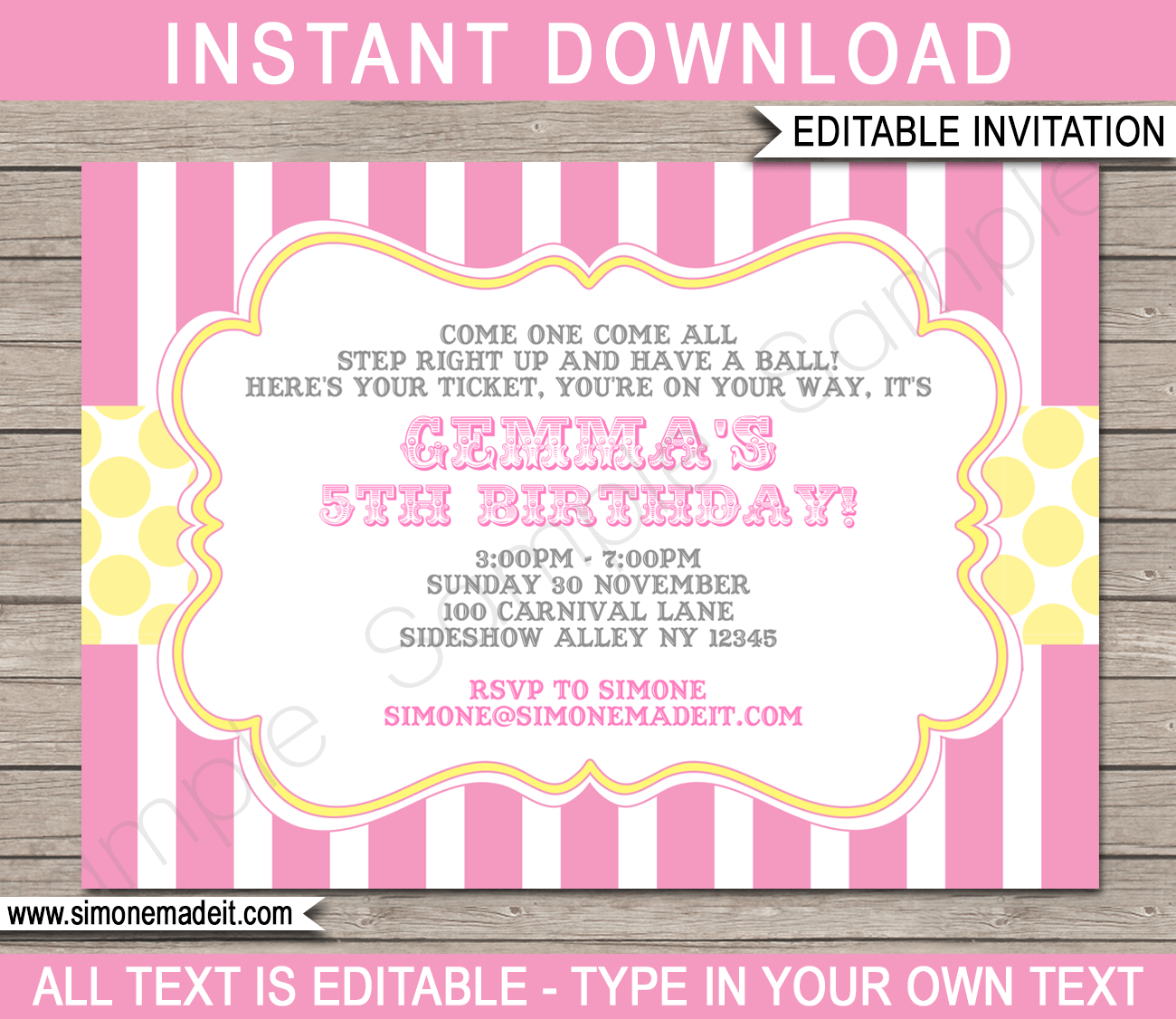 Carnival Party Invitations | Circus Party | Pink and Yellow | Birthday Party | Editable DIY Theme Template | INSTANT DOWNLOAD $7.50 via SIMONEmadeit.com