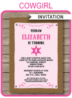 Printable Cowgirl Party Invitations Template
