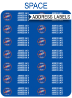 FREE Printable Space Party Address Labels Template