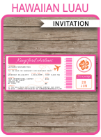 Printable Hawaiian Luau Boarding Pass Invitations Template