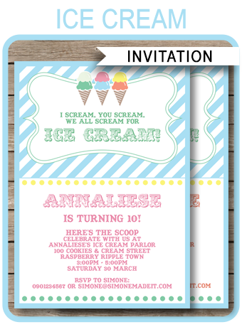 Ice Cream Party Invitations Template Birthday Party