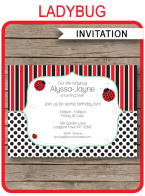 Printable Ladybug Party Invitations Template
