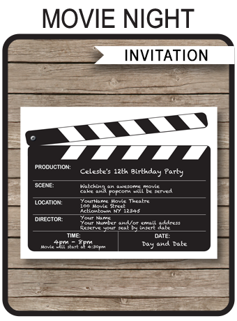 Movie Night Party Invitations Template Birthday Party