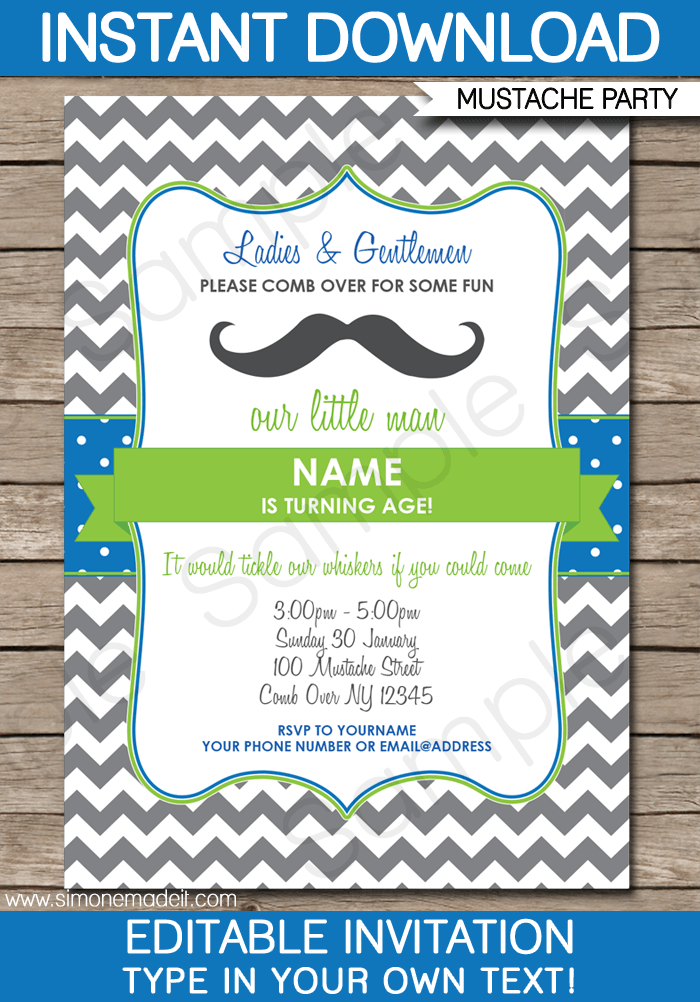 Mustache Party Invitations | Birthday Party | Editable DIY Theme Template |  INSTANT DOWNLOAD $7.50 Via