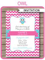 Printable Owl Birthday Party Invitations Template