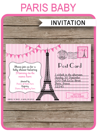 Printable pink Paris Baby Shower Invitations Template