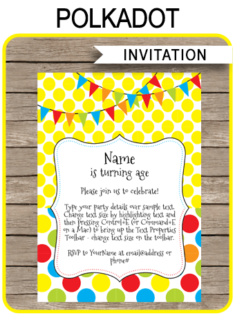 Polkadot Party Invitations Template
