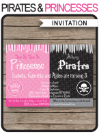 Pirates & Princesses Party Invitations Template