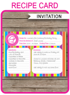 Recipe Card Cooking Party Invitation Template