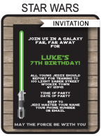 Star Wars Party Invitations Template – green/blue/red
