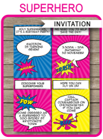 Printable Girl Superhero Party Invitations Template