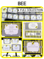 Bee Party Printables, Invitations & Decorations