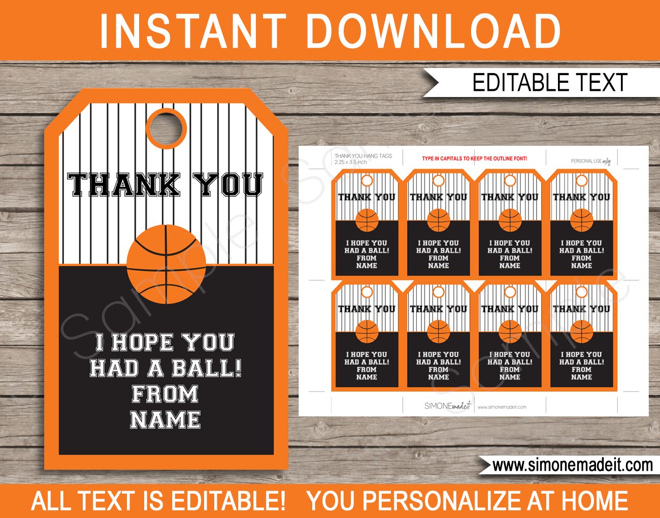 basketball party favor tags template thank you tags