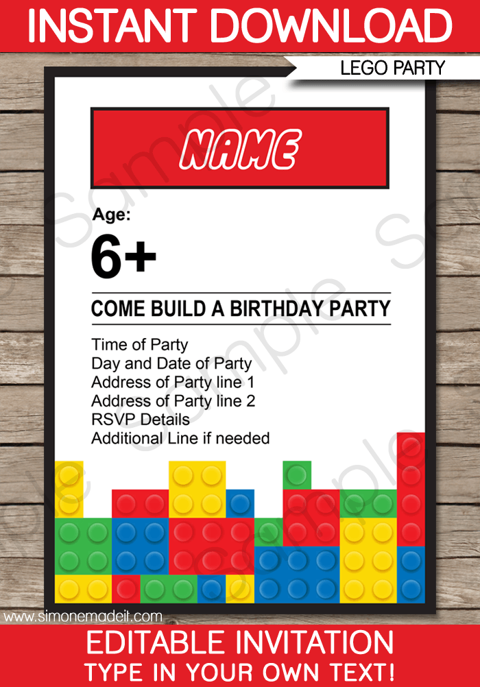 Lego Party Invitations | Lego Invitations | Birthday Party
