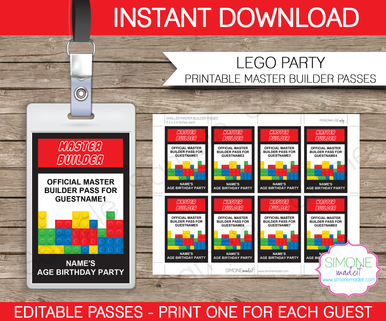 lego master builder passes birthday party printables