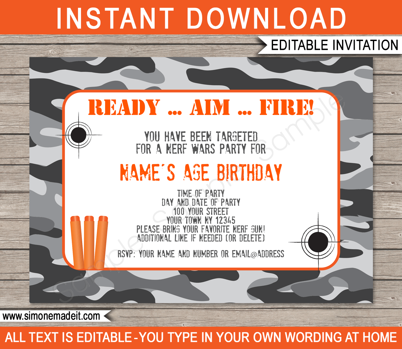 Nerf Party Invitations | Birthday Party | Editable DIY Theme Template |  INSTANT DOWNLOAD $7.50 Via  Free Birthday Party Invitation Template