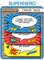 Superhero Party Favor Tags Template – blue