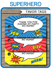 SUPERHERO FAVOR TAGS | THANK YOU TAGS | BIRTHDAY PARTY