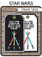 Star Wars Party Favor Tags template
