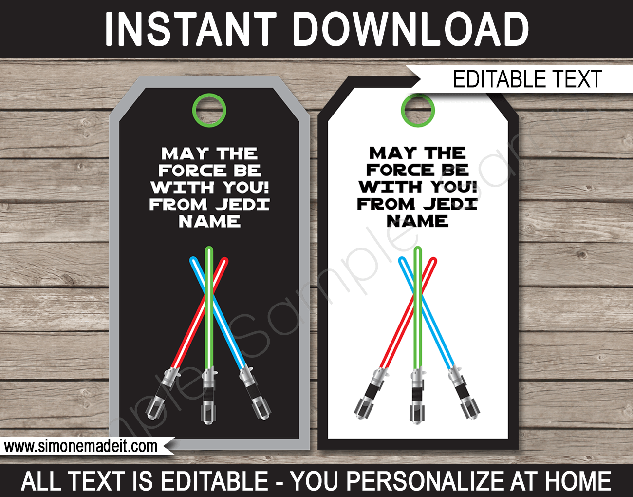 Star wars party favor tags template thank you tags for Star wars jedi certificate template free