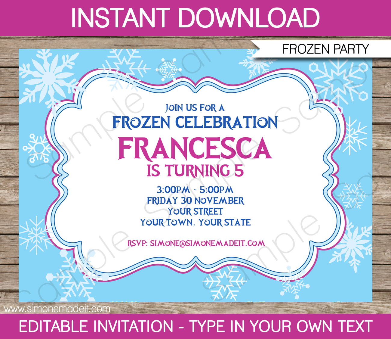 Frozen Invitation Template DIY Editable Frozen Invitations - Party invitation template: frozen birthday party invitation template