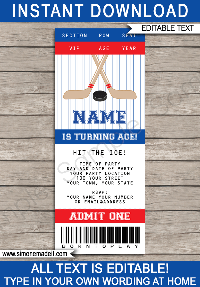 Hockey ticket invitations birthday party template hockey ticket invitations red blue birthday party editable diy theme template filmwisefo Images
