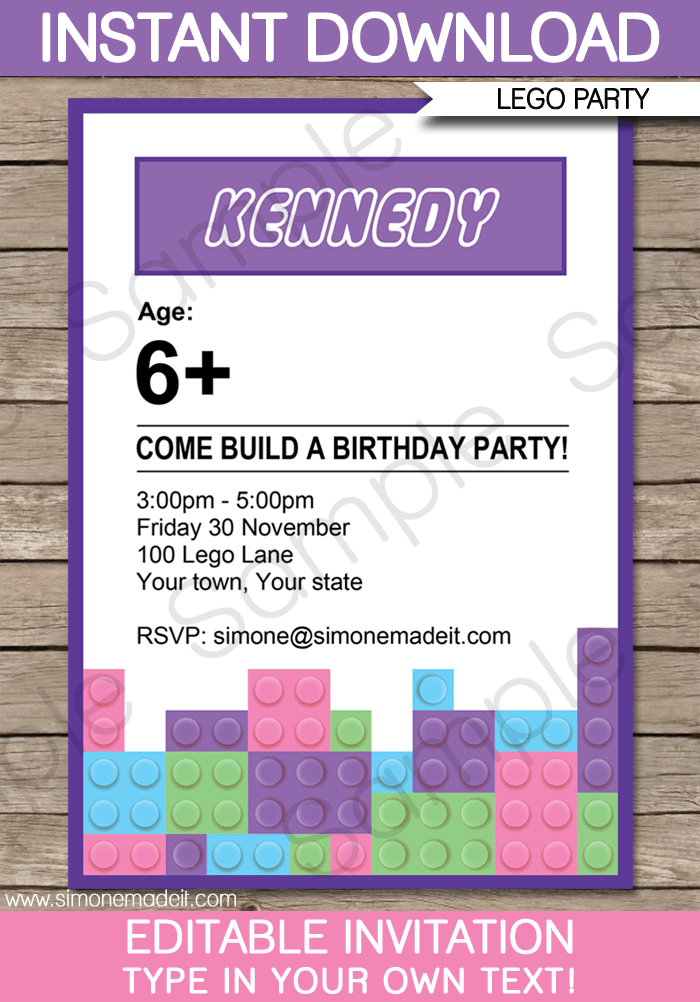 Lego Friends Party Invitations Birthday Party – Lego Party Invitations Printable