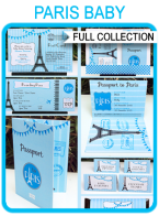 Paris Baby Shower Printables, Invitations & Decorations – blue
