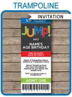 Trampoline Party Ticket Invitations Template – boys