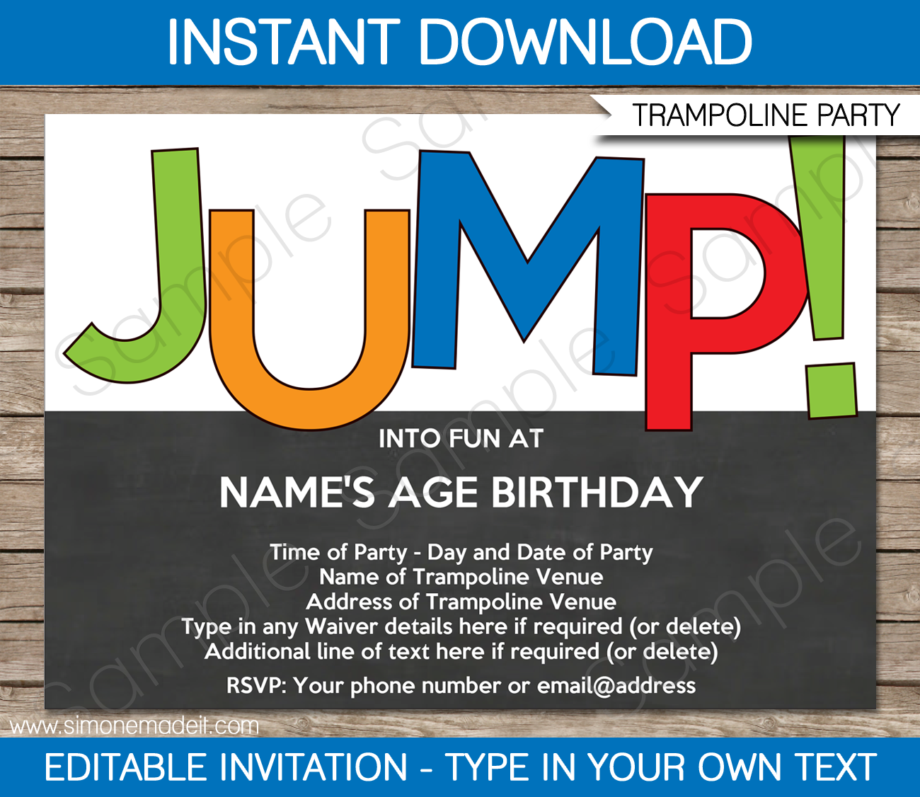 Trampoline Party Invitations: Trampoline Party Invitations