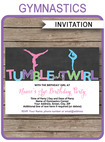 Gymnastics Party Invitations Birthday Party Template