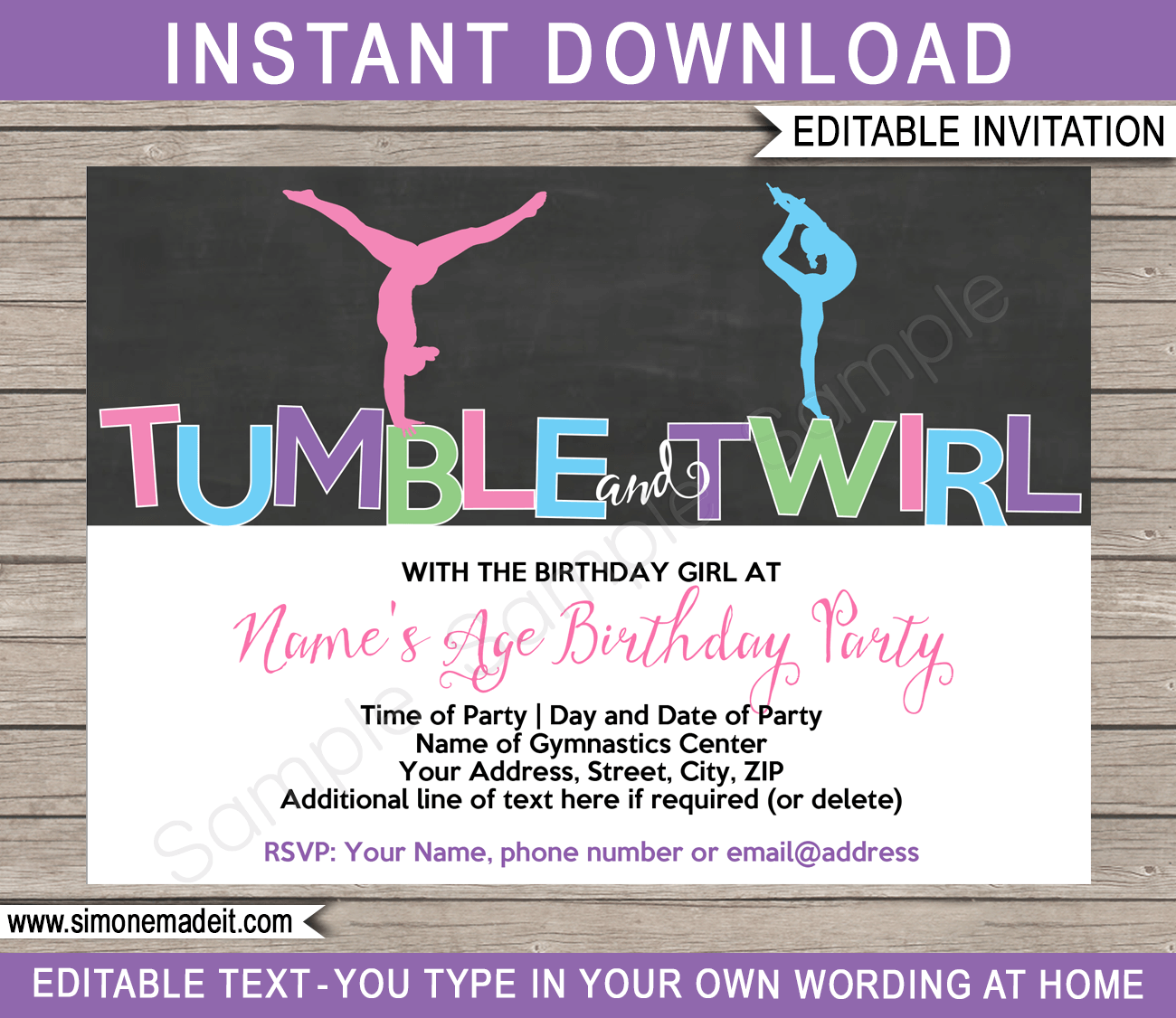 Gymnastics Party Invitations Birthday Party – Gymnastic Birthday Invitations