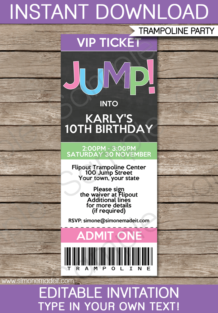 trampoline birthday party ticket invitations girls. Black Bedroom Furniture Sets. Home Design Ideas