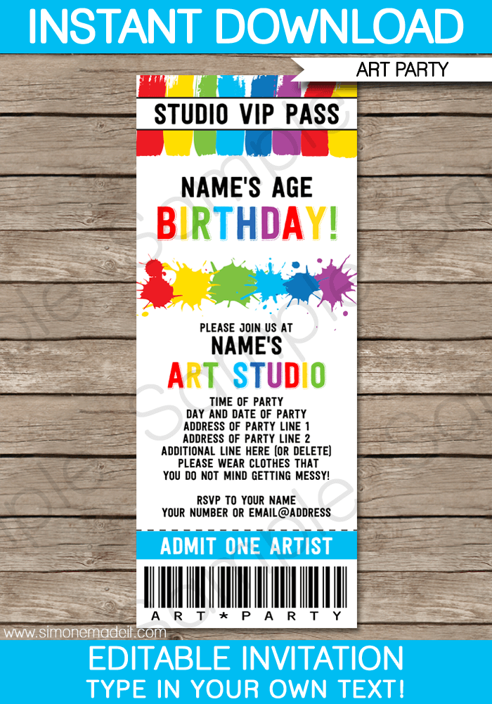 Art party ticket invitations paint party template for Editable ticket template free