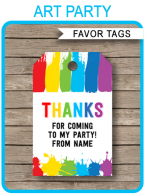 Art Party Favor Tags - Paint Party - Birthday Party Favors - INSTANT DOWNLOAD