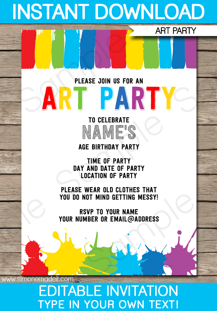 Art Party Invitations | Paint Party | Template