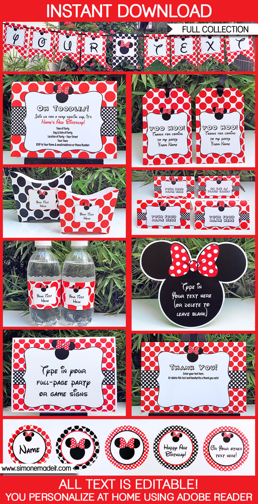 Minnie Mouse Birthday Party Printables Invitations Decorations